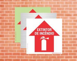 Placa Extintor de Incêndio Adiante (Cod: EX17)    Adesivo vinil impressão digital Corte Reto