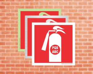 Placa Extintor (Pictograma) PQS-ABC (Cod: EX33)    Adesivo vinil impressão digital Corte Reto