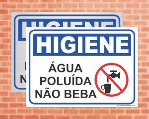 PLACA Higiene Água Poluída Não Beba (Cod: HI01)    Adesivo vinil impressão digital Corte Reto