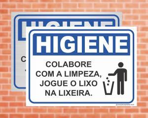 Placa Higiene Colabore com a Limpeza, jogue o lixo na lixeira (Cod: HI04)    Adesivo vinil impressão digital Corte Reto