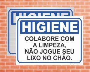 Placa Higiene Colabore com a Limpeza, Não jogue seu lixo no chão. (Cod: HI08)    Adesivo vinil impressão digital Corte Reto