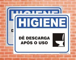 PLACA Higiene Dê Descarga Após o Uso (Cod: HI02)    Adesivo vinil impressão digital Corte Reto