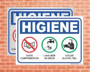 Placa Higiene Evite cumprimentos, Lave bem as mãos, Utilize álcool gel (Cod: HI11)    Adesivo vinil impressão digital Corte Reto