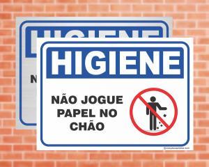 PLACA Higiene Não Jogue Papel no Chão (Cod: HI03)    Adesivo vinil impressão digital Corte Reto