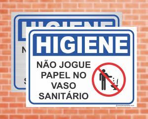 Placa Higiene Não jogue papel no vaso sanitário (Cod: HI06)    Adesivo vinil impressão digital Corte Reto