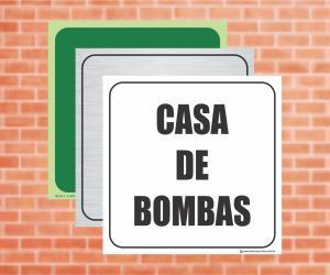Placa Indicação da Casa de Bombas (Cod: CB02)    Adesivo vinil impressão digital Corte Reto