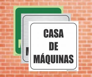 Placa Indicação da Casa de Máquinas (Cod: CM01)    Adesivo vinil impressão digital Corte Reto