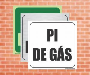 Placa Indicação do Pi de Gás (Cod: PG03)    Adesivo vinil impressão digital Corte Reto