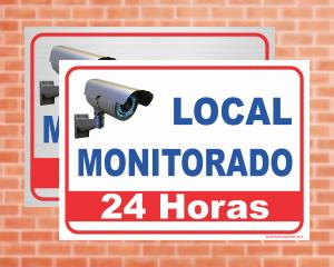 Placa Local monitorado 24 horas (Cod: IN02)    Adesivo vinil impressão digital Corte Reto