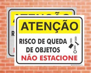 Placa Atenção Risco de Queda de Objetos Não Estacione (Cod: AT02)    Adesivo vinil impressão digital Corte Reto