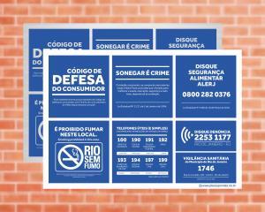 Placa Para Bares e Restaurantes do Rio de Janeiro (Cod: EC15)    Adesivo vinil impressão digital Corte Reto