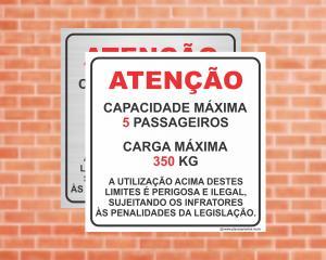 Placa para Elevador Atenção capacidade e carga Máxima (Cod: EL06)    Adesivo vinil impressão digital Corte Reto