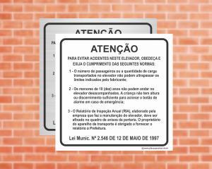Placa para Elevador Normas para evitar acidentes  Lei Munic. Nº 2.546 DE 12 DE MAIO DE 1997 (Cod: EL03)    Adesivo vinil impressão digital Corte Reto