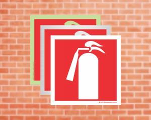 Placa para Extintor de Incêndio Pictograma (Cod: EX12)    Adesivo vinil impressão digital Corte Reto