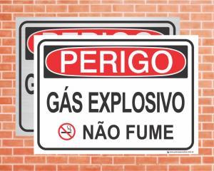 Placa Perigo Gás explosivo não fume (Cod: PE30)    Adesivo vinil impressão digital Corte Reto