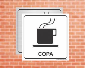 PLACA PICTOGRAMA Copa (Cod: PI05)    Adesivo vinil impressão digital Corte Reto
