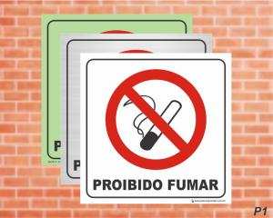 PLACA PICTOGRAMA Proibido Fumar - P1 (Cod: PI09)    Adesivo vinil impressão digital Corte Reto