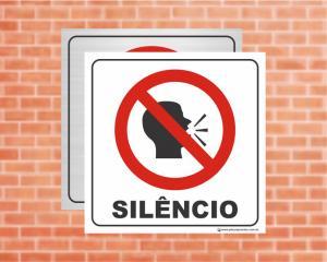 PLACA PICTOGRAMA Silêncio (Cod: PI12)    Adesivo vinil impressão digital Corte Reto