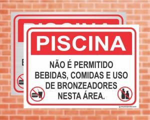 Placa Piscina Não é permitido bebidas, comidas e bronzeadores (Cod: PC02)    Adesivo vinil impressão digital Corte Reto