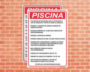 Placa Piscina Piscina Regulamento (Cod: PC04)    Adesivo vinil impressão digital Corte Reto