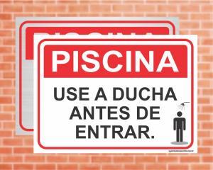 Placa Piscina Use a ducha antes de entrar (Cod: PC03)    Adesivo vinil impressão digital Corte Reto