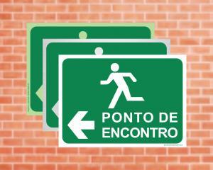 Placa Ponto de Encontro com Seta (Cod: PES)    Adesivo vinil impressão digital Corte Reto