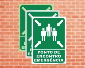 Placa Ponto de Encontro Emergência (Cod: PEE)    Adesivo vinil impressão digital Corte Reto