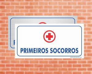 Placa Primeiros Socorros (Cod: EC10)    Adesivo vinil impressão digital Corte Reto