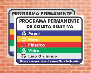 Placa Programa Permanente de Coleta Seletiva (Cod: CS03)    Adesivo vinil impressão digital Corte Reto