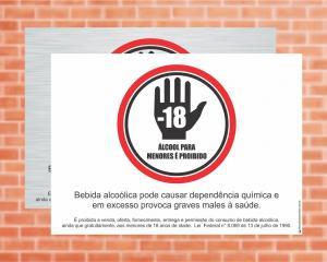Placa Proibido bebida alcoólica menores de 18 anos Lei Federal 8.069 (Cod: L3)    Adesivo vinil impressão digital Corte Reto