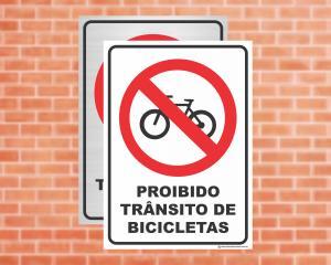 Placa Proibido Trânsito de Bicicletas (Cod: ES07)    Adesivo vinil impressão digital Corte Reto