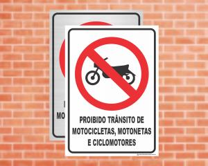 Placa Proibido Trânsito de Motocicletas e Ciclomotores (Cod: ES08)    Adesivo vinil impressão digital Corte Reto