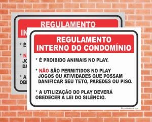 Placa Regulamento Interno do Condomínio (Cod: IN06)    Adesivo vinil impressão digital Corte Reto