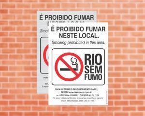 Placa Rio sem Fumo/RJ (Cod: L1)    Adesivo vinil impressão digital Corte Reto
