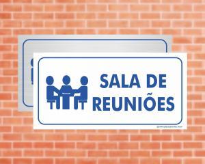 Placa Sala de Reuniões (Cod: EC07)    Adesivo vinil impressão digital Corte Reto