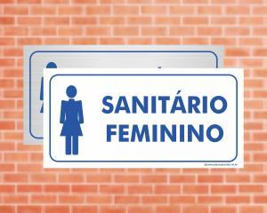 Placa Sanitário Feminino (Cod: EC02)    Adesivo vinil impressão digital Corte Reto