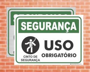 Placa Segurança Cinto de Segurança Uso Obrigatório (Cod: SE10)    Adesivo vinil impressão digital Corte Reto