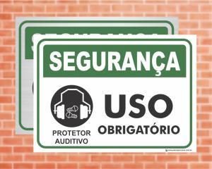 Placa Segurança Protetor Auditivo Uso Obrigatório (Cod: SE03)    Adesivo vinil impressão digital Corte Reto