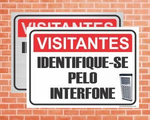 Placa Visitantes Identifique-se pelo Interfone (Cod: IN03)    Adesivo vinil impressão digital Corte Reto
