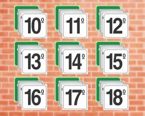 Placas para Andares II (Cod: PA1018)    Adesivo vinil impressão digital Corte Reto
