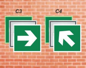 Seta indicando direção da rota de saída. (Cod: C3C4)    Adesivo vinil impressão digital Corte Reto