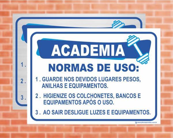 Placa Academia Normas de Uso (Cod: AC01)