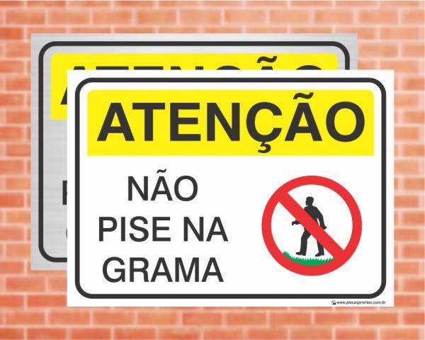 Placa Atenção Não Pise na Grama (Cod: AT15)