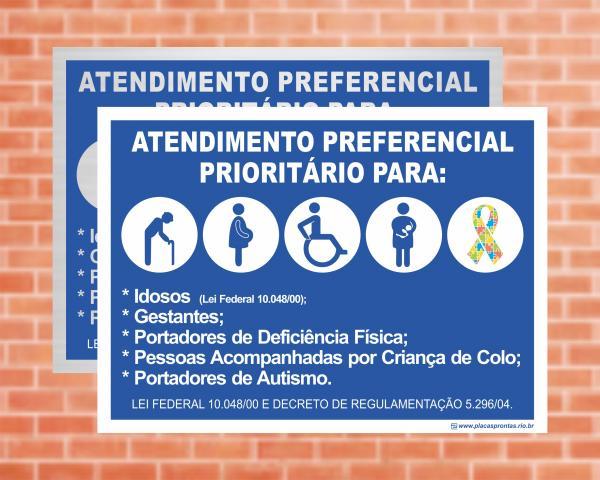 Placa Atendimento preferencial - Lei Federal 10.048/00 (Cod: EC14)