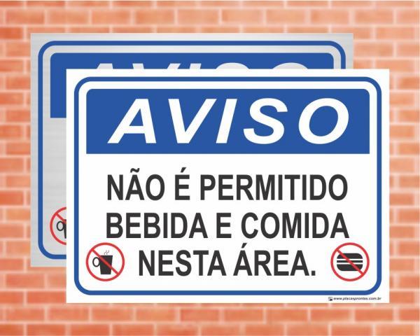 Placa Aviso Não é permitido bebida e comida nesta área (cod: AV20)