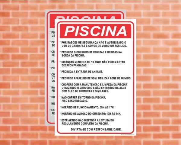 Placa Piscina Piscina Regulamento (Cod: PC04)